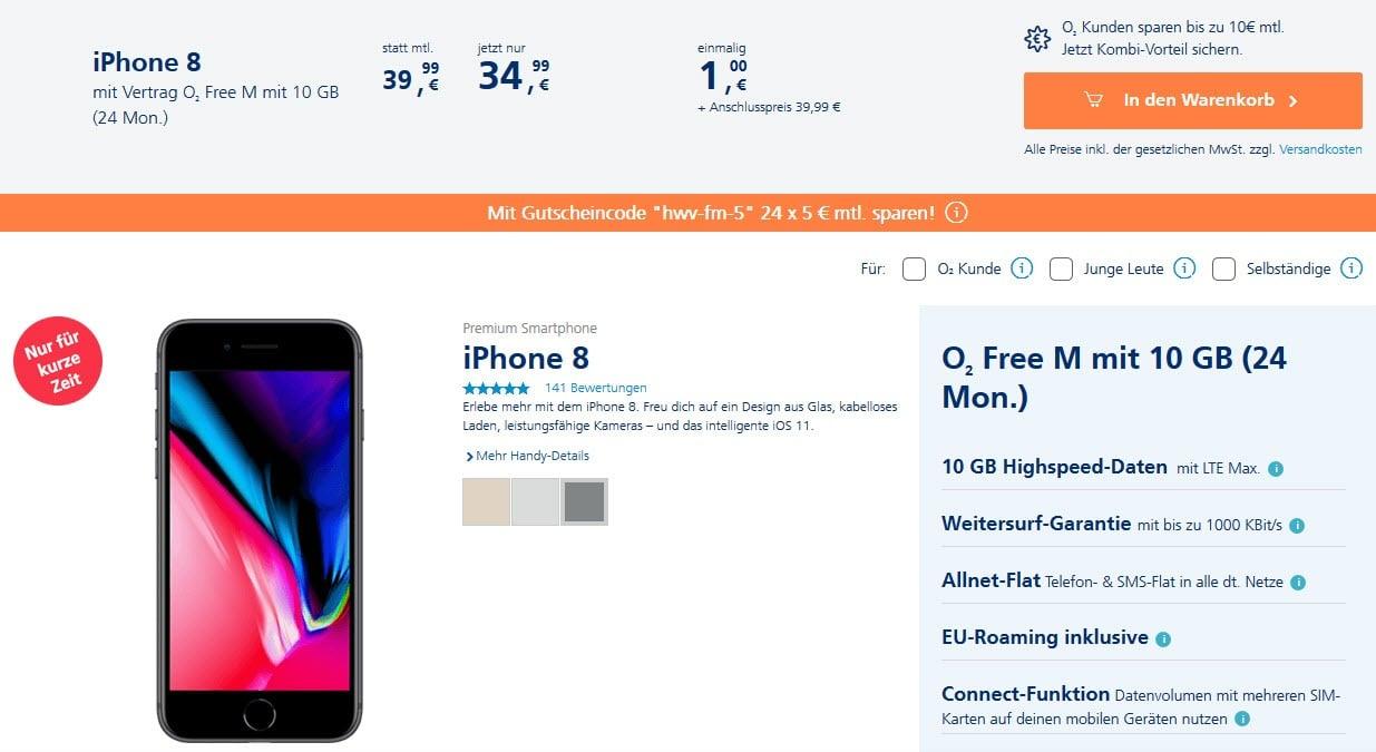 O2 Free Vertrag Mit Iphone 8 Ab Mtl 3499 1 Zuzahlung
